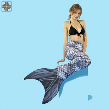 Premium Digital Printed Grey Mermaid Tails