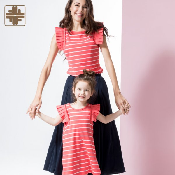 Mother And Kids Pleated Sleeve Striped Shirts